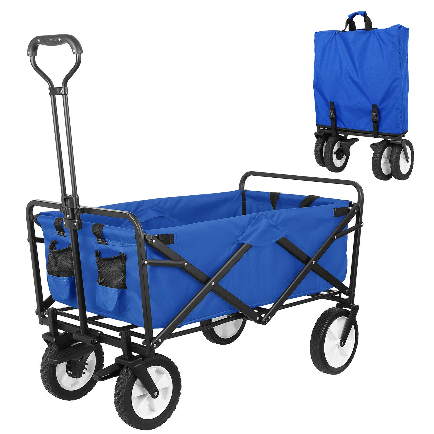 HEMBOR Collapsible Outdoor Utility Wagon, Heavy Duty Folding Garden Portable Hand Cart, with 8 Rubber Wheels and Brake Wheels, Adjustable Handles and Double Fabric, for Shopping,Picnic,Beach Blue