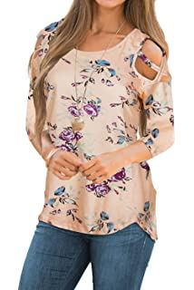 ad562ae50ca779 CEASIKERY Womens Floral Blouse Loose Strappy Cold Shoulder Tops Casual T  Shirts