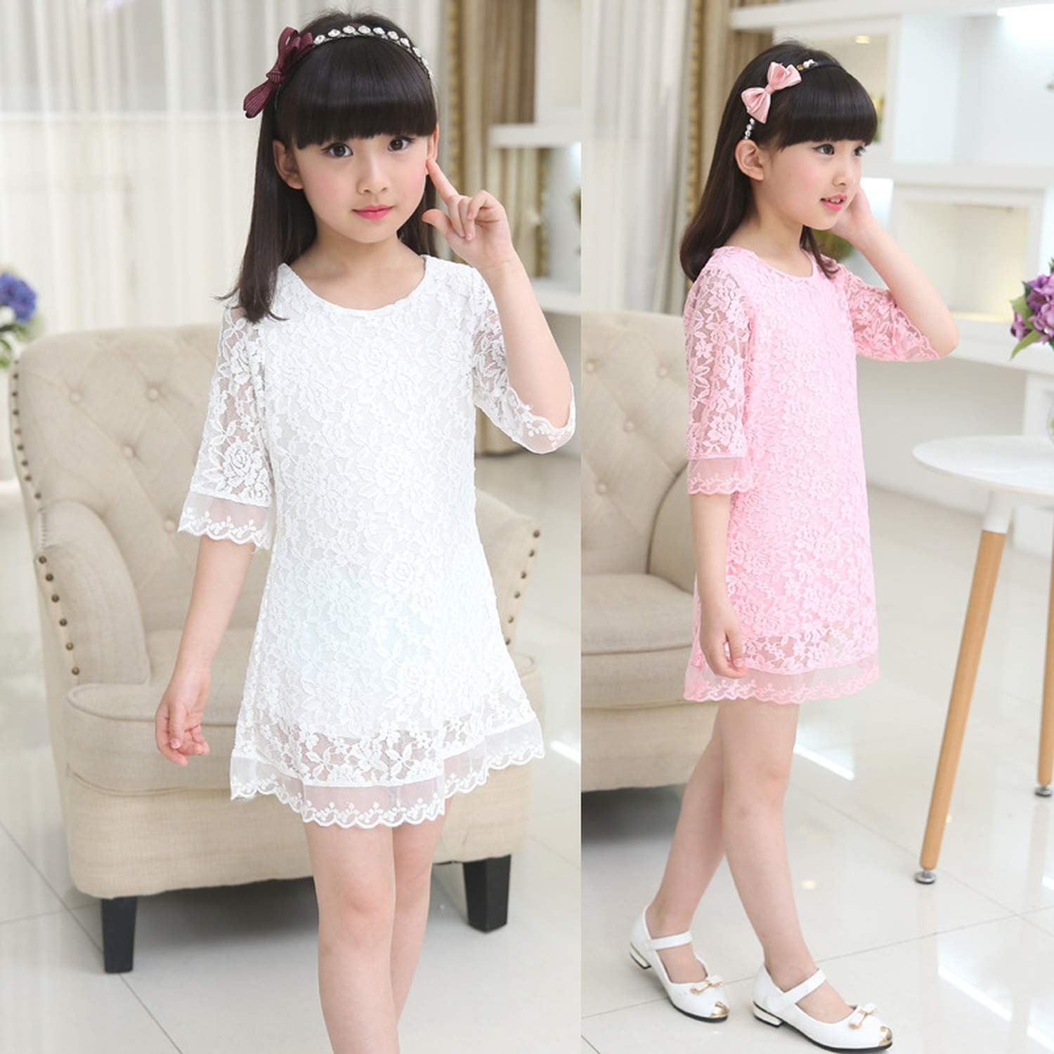 Kids 2018 Summer Autumn Lace Dress White Large Size Girls Dress Princess 3 4 6 8 10 12 14 16 18 Years Old Baby Girl,White,7 by Gooding Day (Image #3)