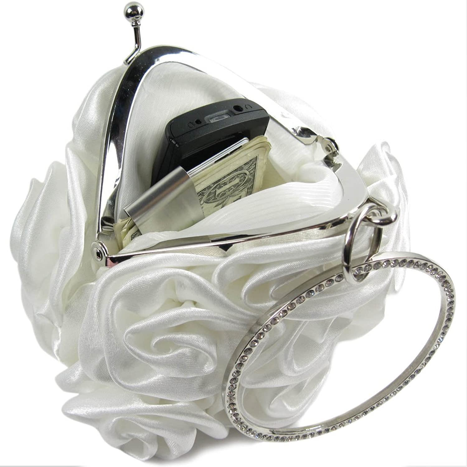 Missy K Rose Clutch Purse, Satin, with Circle Handle - White + kilofly Money Clip