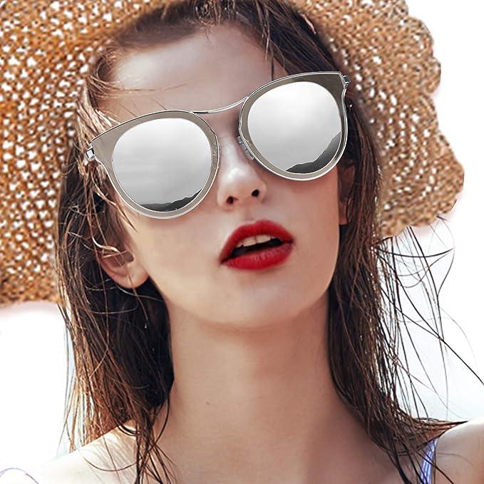 7ba2ed8a32 LVIOE Occhiali da Sole Donna Montatura in Metallo a Specchio Lenti ...