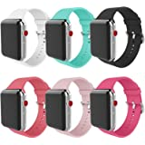 MITERV Compatible with Apple Watch Band 38mm 40mm Soft Silicone Replacement Band for Apple Watch Series 5,4,3,2,1 for…