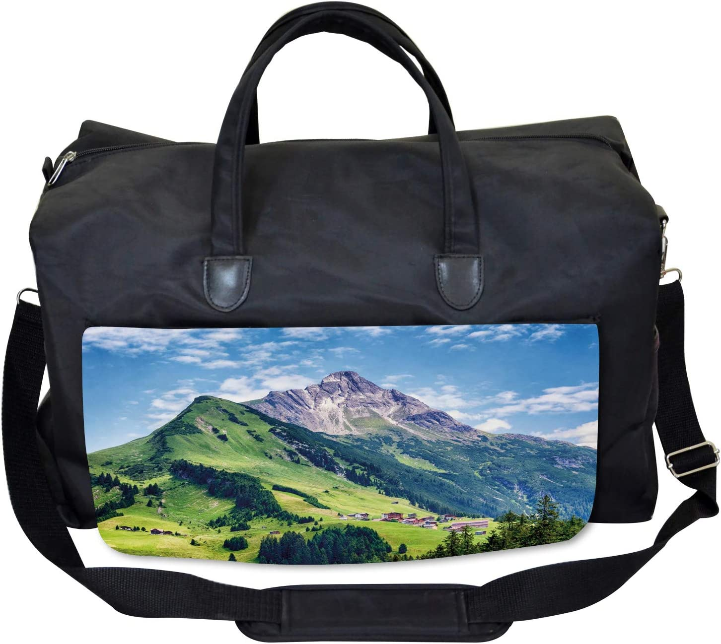 Large Weekender Carry-on Ambesonne Nature Gym Bag Spring Scene Mountain