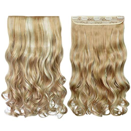 REECHO Synthetic 20-inch 3/4 Full Head Curly Wave Clips-in Hair Extensions