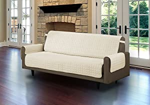 Linen Store Quilted Microfiber Pet Furniture Protector Cover with Tucks and Straps, Beige, Sofa