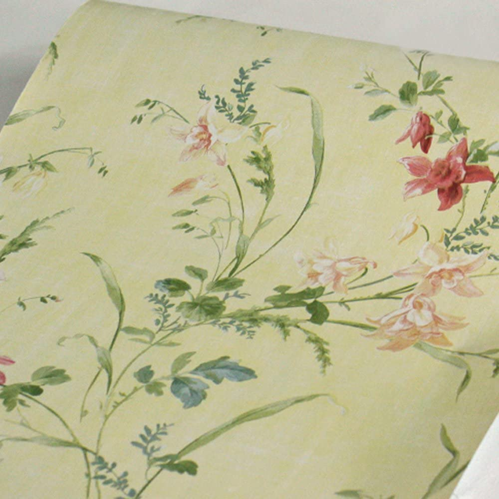 Yifely Self-Adhesive Shelf Liner Removable Furniture Paper for Covering Apartment Dresser Drawers, Rural Flower, 17.7 Inch by 9.8 Feet
