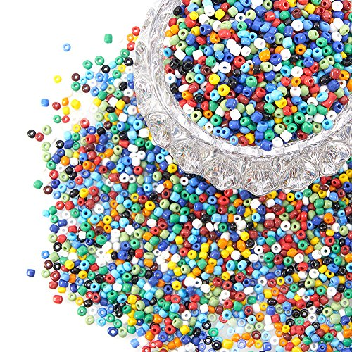 PandaHall 6/0 Glass Seed Beads Round Pony Bead Diameter 4mm About 4500Pcs for Jewelry DIY Craft Mixed Opaque Colours