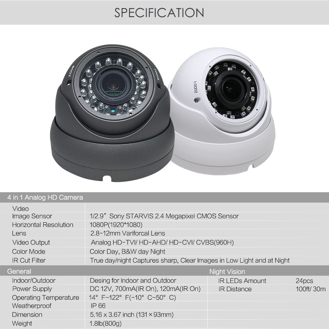 1080P Dome Security Camera with Metal Housing and Great Night Vision White by SecurityVideoDirect