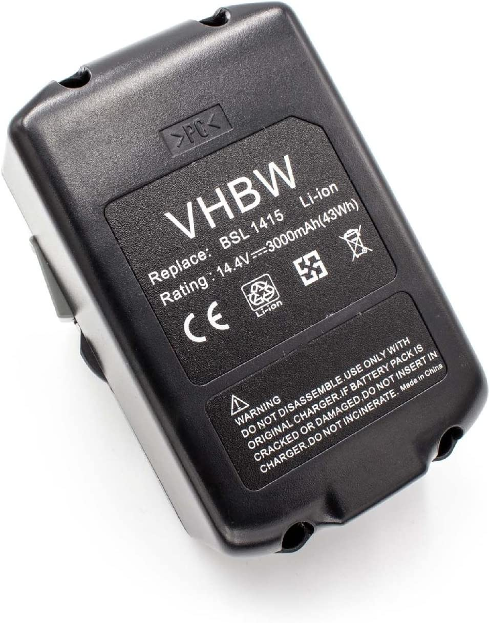 vhbw Li-Ion Batería 3000mAh (14.4V) para su herramienta electrónica Hitachi DS 14DBL, DS14DSAL, DS14DSFL, DV 14DBL por BSL 1415, BSL 1430, 329083.