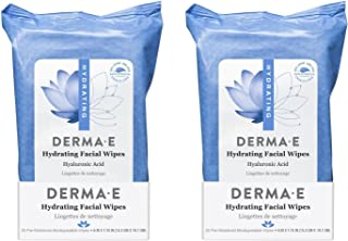 product image for Derma E Hydrating Facial Wipes (Pack of 2) With Maqui Berry and Grape Seed, 25 count each