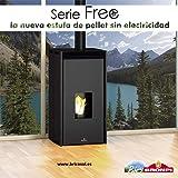 ESTUFA DE PELLET SIN ELECTRICIDAD BRONPI MODELO FREE 11 KW NEGRO