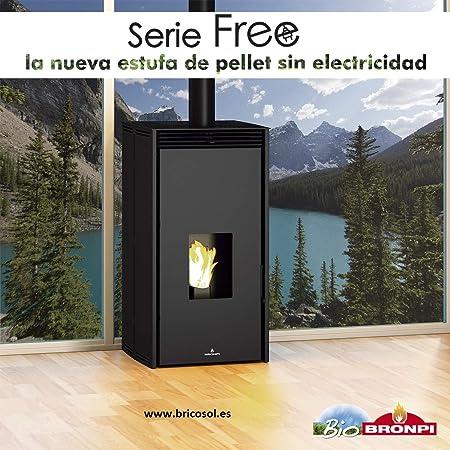 ESTUFA DE PELLET SIN ELECTRICIDAD BRONPI MODELO FREE 11 KW NEGRO: Amazon.es: Bricolaje y herramientas