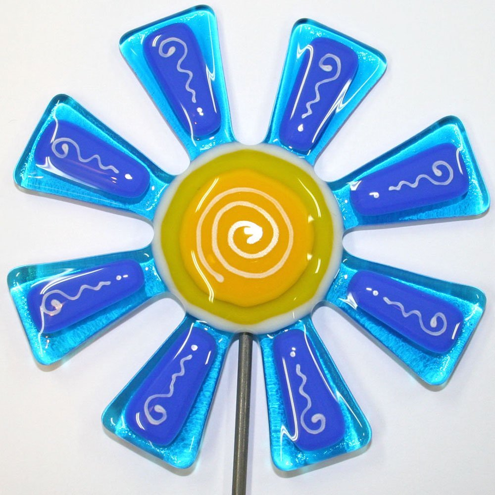 Brilliant Blue and Turquoise Flower Stake Fused Glass Garden Art Glassworks Northwest