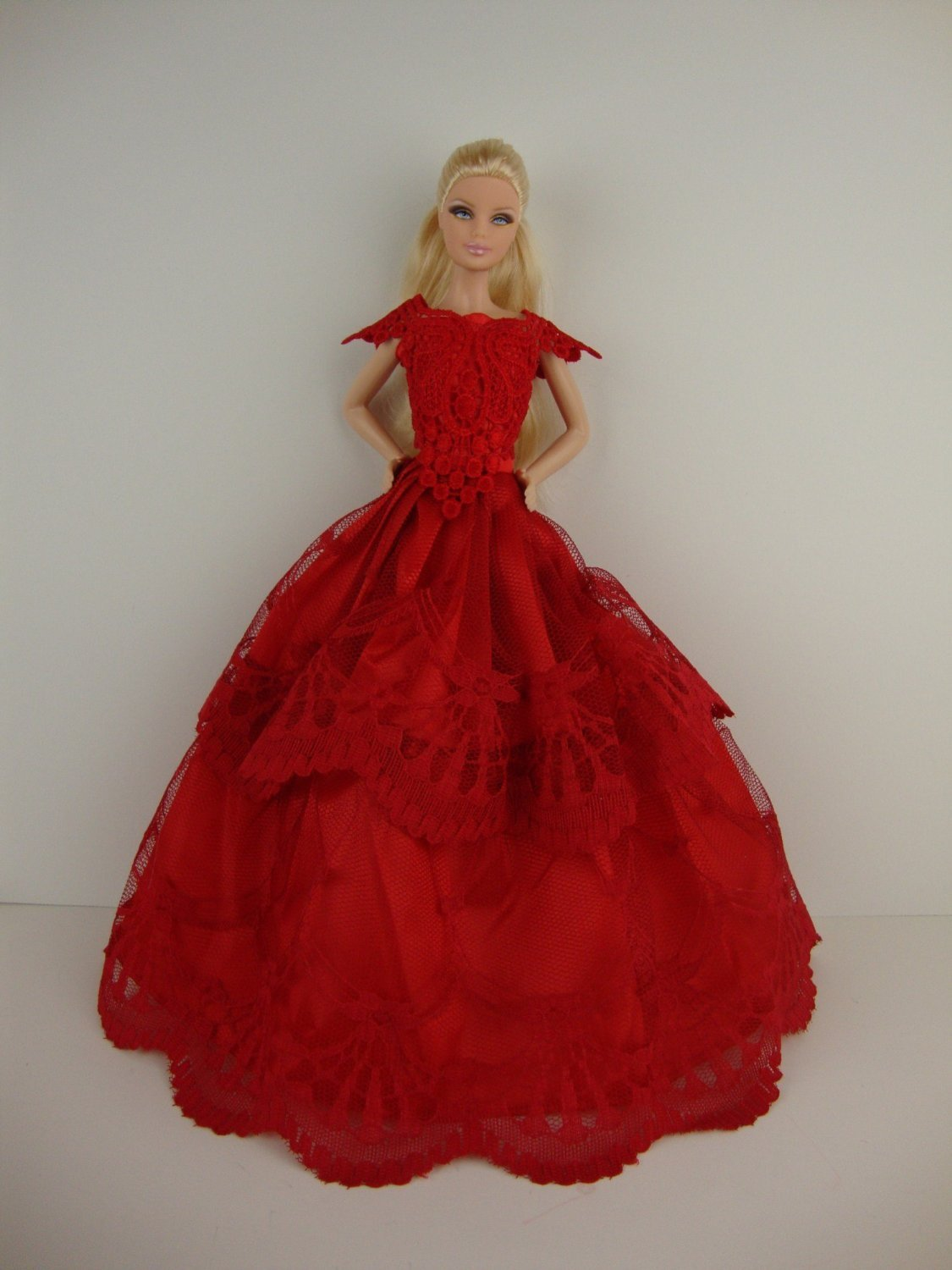 Amazon.com: Stunning Red Ball Gown with Short Sleeves Made to Fit ...