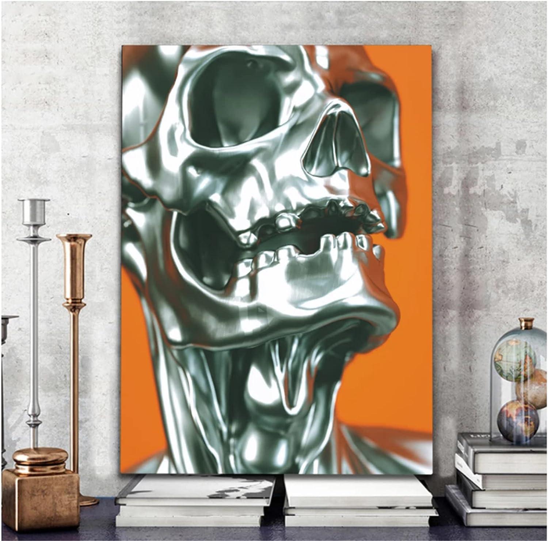 Cuadro en lienzo abstracto de esqueleto, arte de pared, póster con impresión nórdica, cuadros decorativos para pared, sala de estar, dormitorio, decoración de Bar