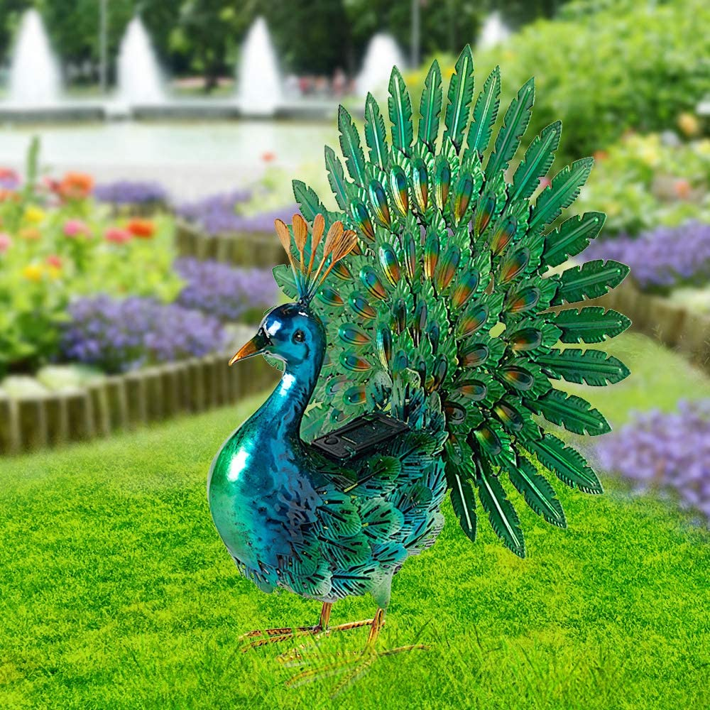 chisheen Peacock Garden Statues Solar Light Outdoor Metal Yard Art Decor