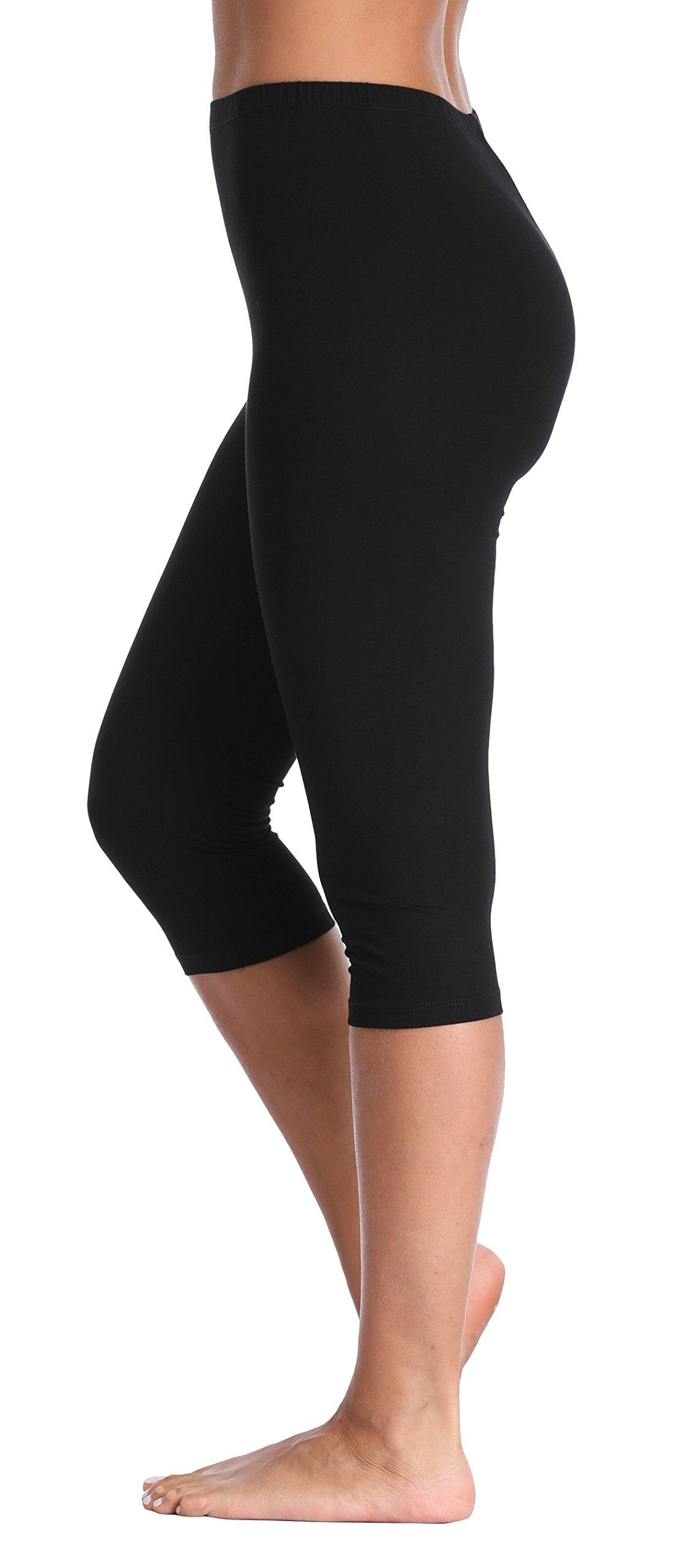 A-Wintage Women's Extra Soft Capri Leggings Modal 3/4 Length Pants High Waist
