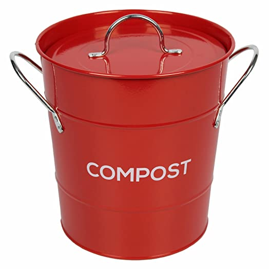 Red Metal Kitchen Compost Caddy   Composting Bin For Food Waste Recycling