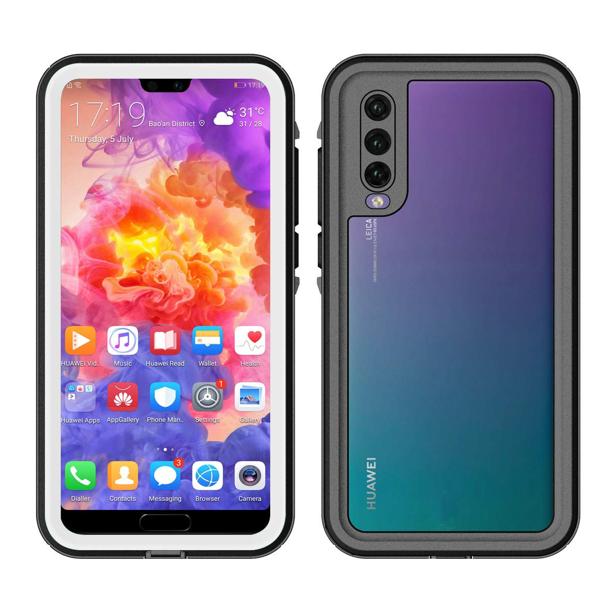 Huawei P20 Pro Waterproof Case, Fusutonus [IP68 Certified] Underwater Full Sealed Cover, Full Body Protective Shockproof Snowproof for Huawei P20 Pro - Black 2G10-59-116