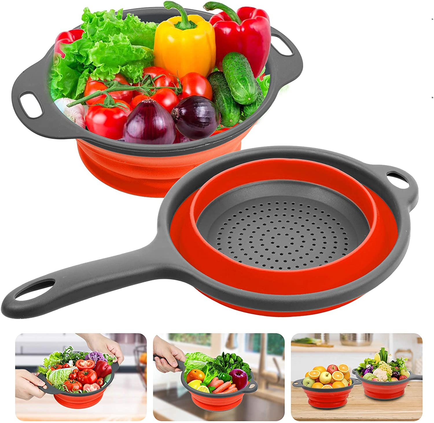 Silicone Collapsible Colanders and Strainers (2 Piece Set -Red), Rareccy Kitchen Colander with Handles Diameter Sizes 8