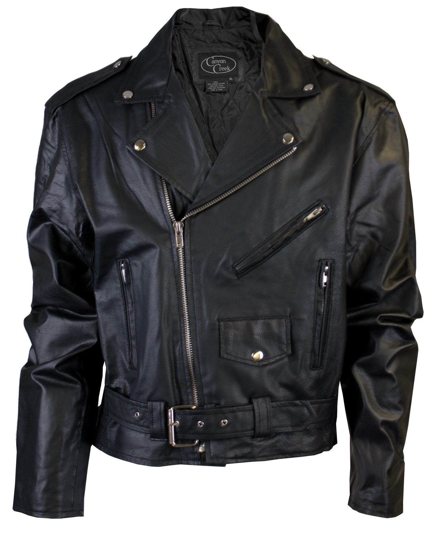 Canyon Creek Classic Men's Black Motorcycle Biker Jacket with Pockets (X-Large)