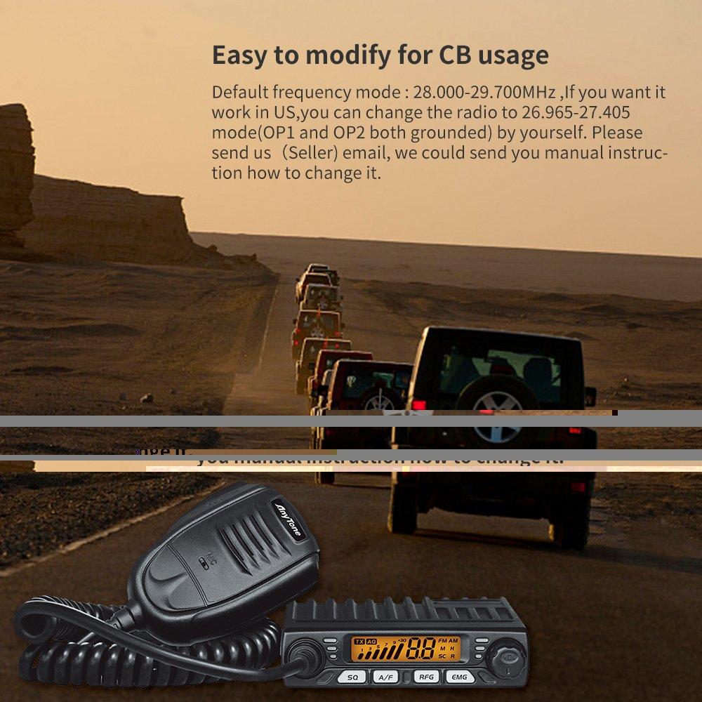 AnyTone Smart CB Mobile Radio transceptor/10 Meter con FM/AM modo, rango de frecuencia: 28.000 - 29.695 MHz Potencia de salida 8 W FM/AM Radio móvil ...