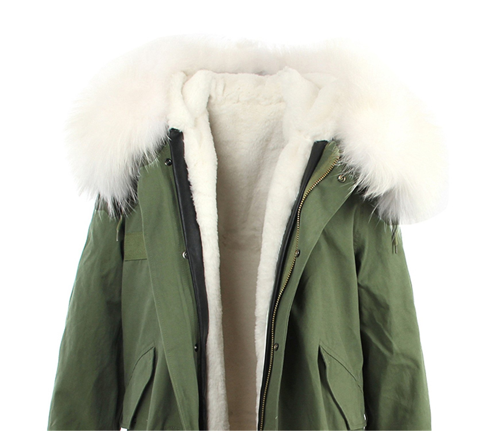 ADC-Hotsell woman army green Large raccoon fur collar hooded coat outwear 2 in 1 detachable lining winter jacket brand style color 22 XXL by ADC-Hotsell quilted-lightweight-jackets