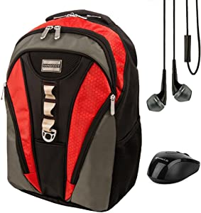Rivo 15.6 Inch Laptop Backpack Casual Daypack Travel Bag For Acer Aspire, Chromebook 15, Asus Aspire E5, ROG, Razer Blade, Toshiba Satellite, Tecra Series 14 15.6 inch with Earbud and Wireless Mouse