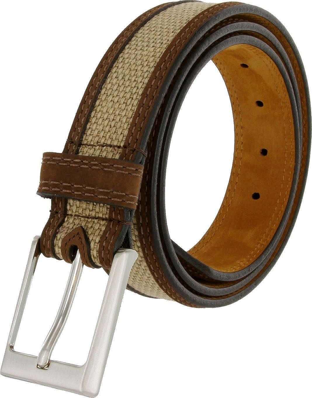 Back Nine Genuine Suede Edged Webbed Cotton Dress Belt In Beige Mens Lejon Dress Belt Made In USA