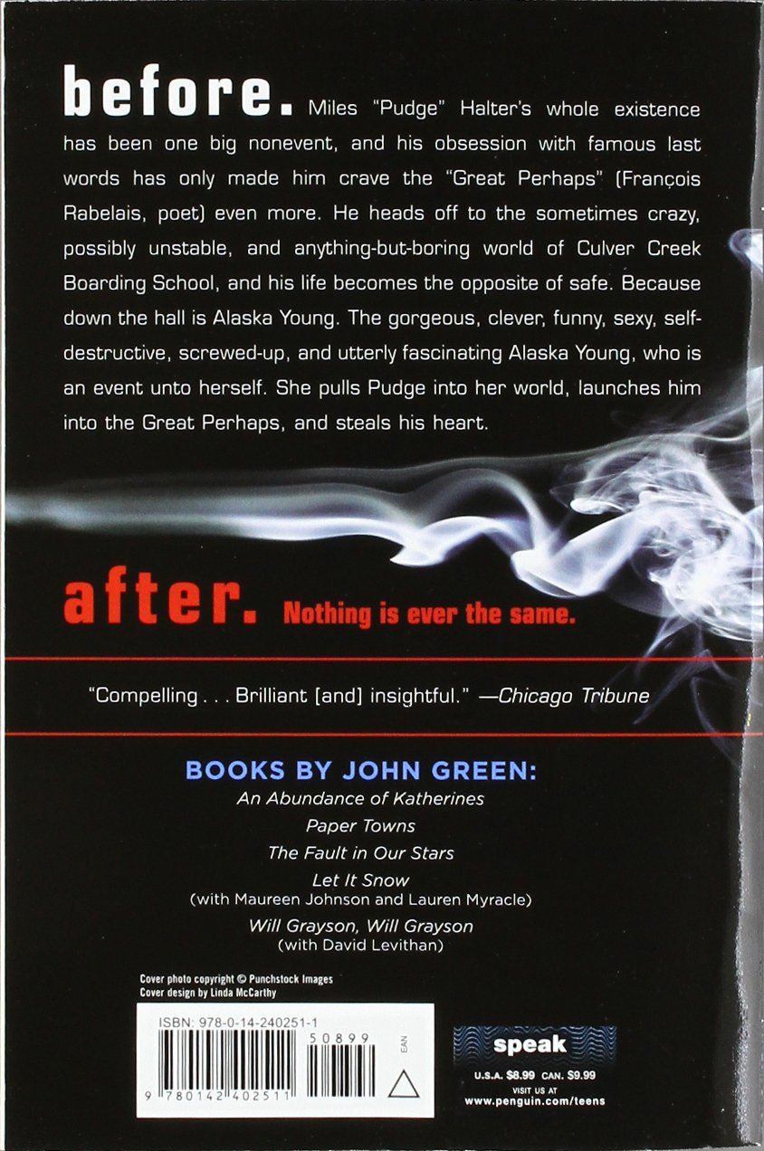 Amazon.com: Looking for Alaska (8601400593011): John Green: Books