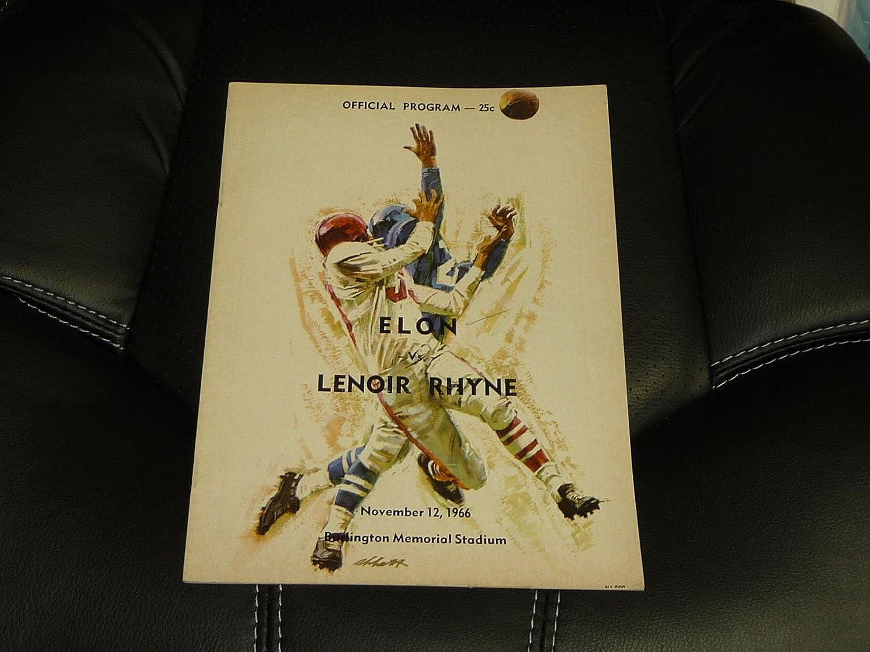 1966 LENOIR RHYNE AT ELON COLLEGE FOOTBALL PROGRAM EX-MINT 2 1967 CAR ADS