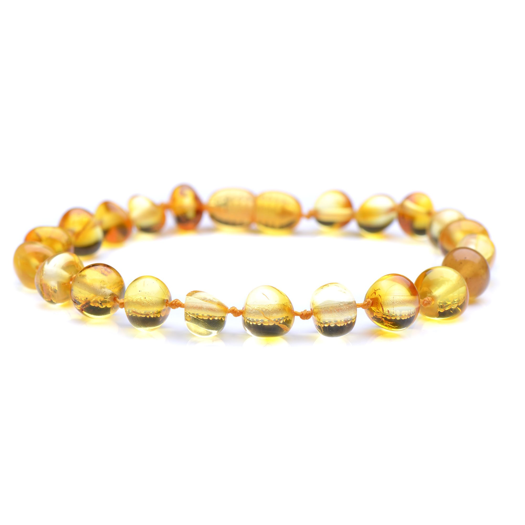 Polished Baltic Amber Bracelet for Adult with A