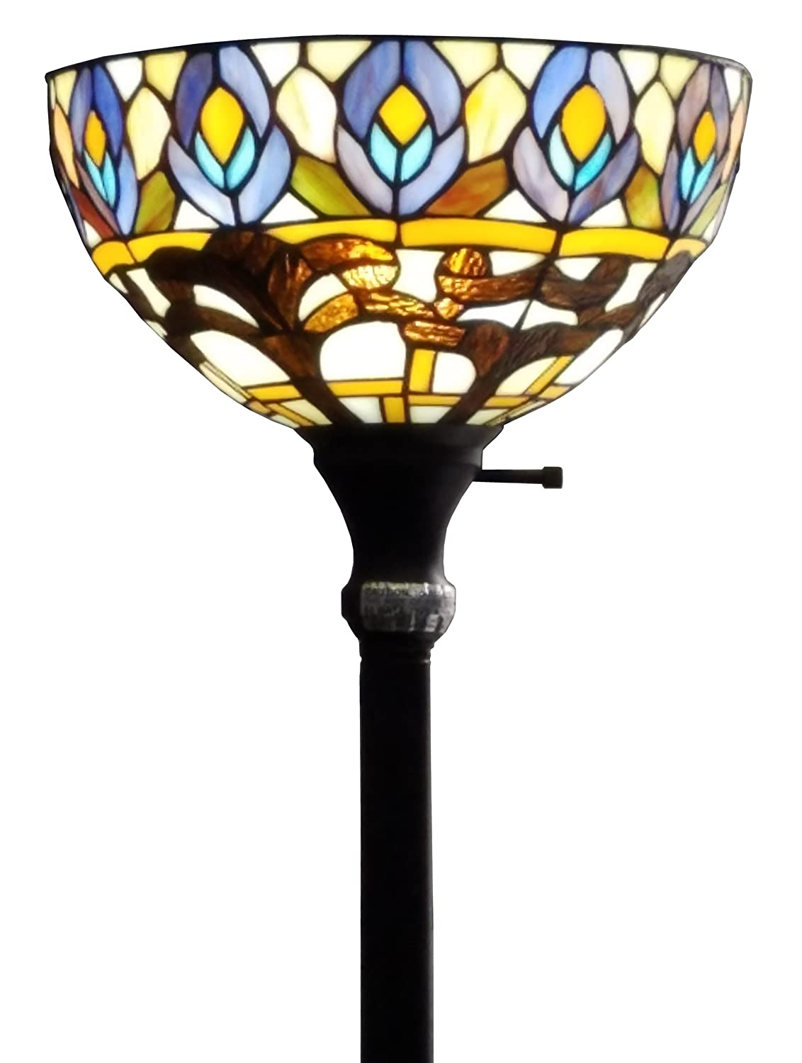 Amora Lighting AM1086FL12 Tiffany Style Peacock Torchiere Floor Lamp, 72 H