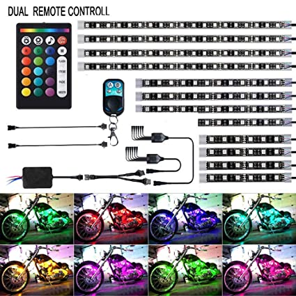 Pack of 12 12Pcs Motorcycle LED Light Kit Strips Multi-Color Accent Glow Neon Ground Effect Atmosphere Lights Lamp with Wireless Remote Controller for Harley Davidson Honda Kawasaki Suzuki