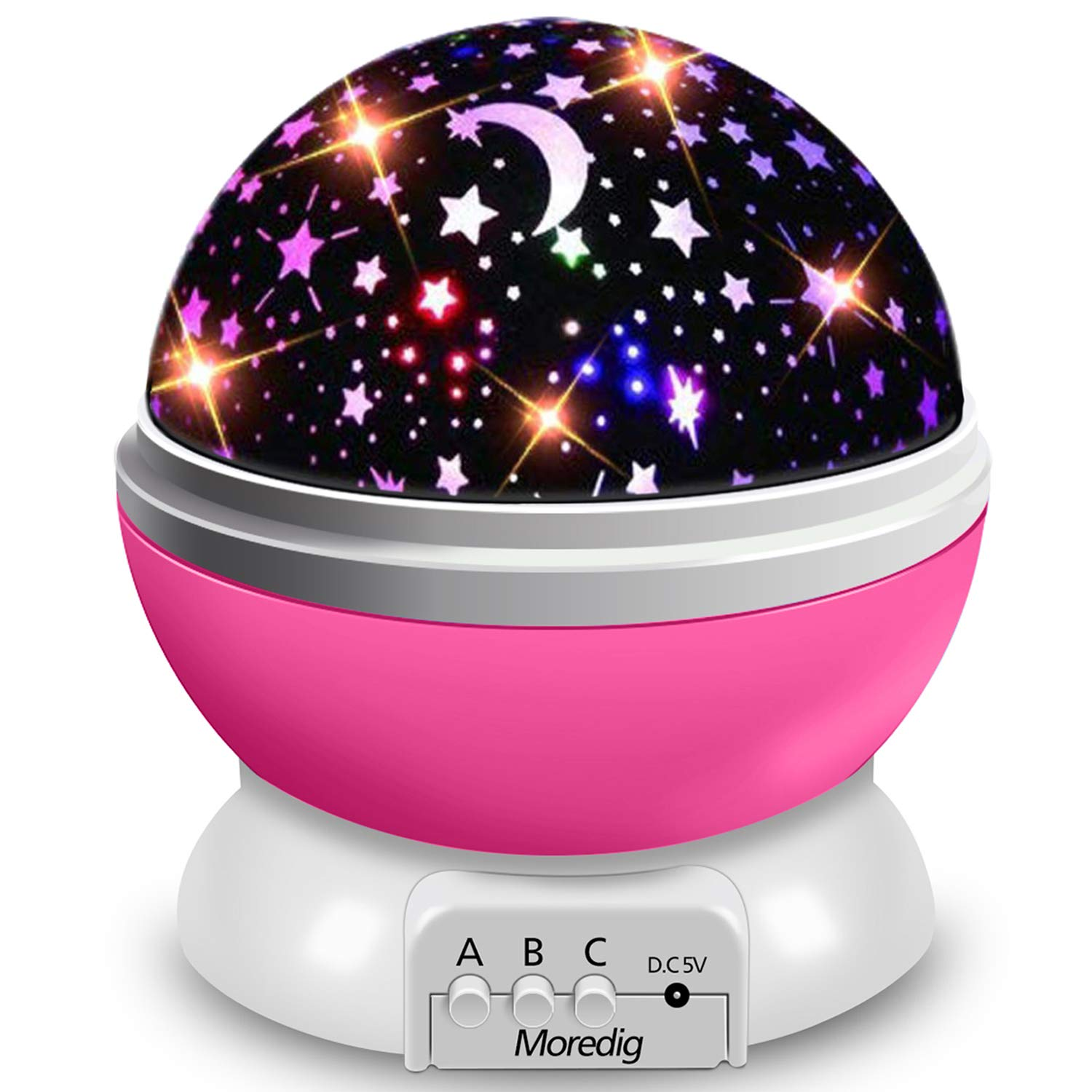 Moredig Starry Ceiling Night Light Projector, 360 Degree Rotating Light Projector with 8 Color Light Change for Kids Baby - Pink Night Light