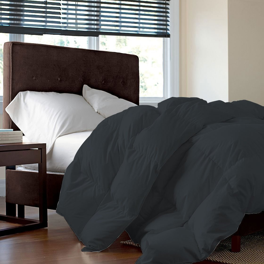 600 TC, GOTS Certified, Organic Cotton, Luxurious and Warm Comforter/Quilt (300 GSM), Fluffy and Cozy Microfiber Filling Duvet King/Cal-King, Elephant Grey