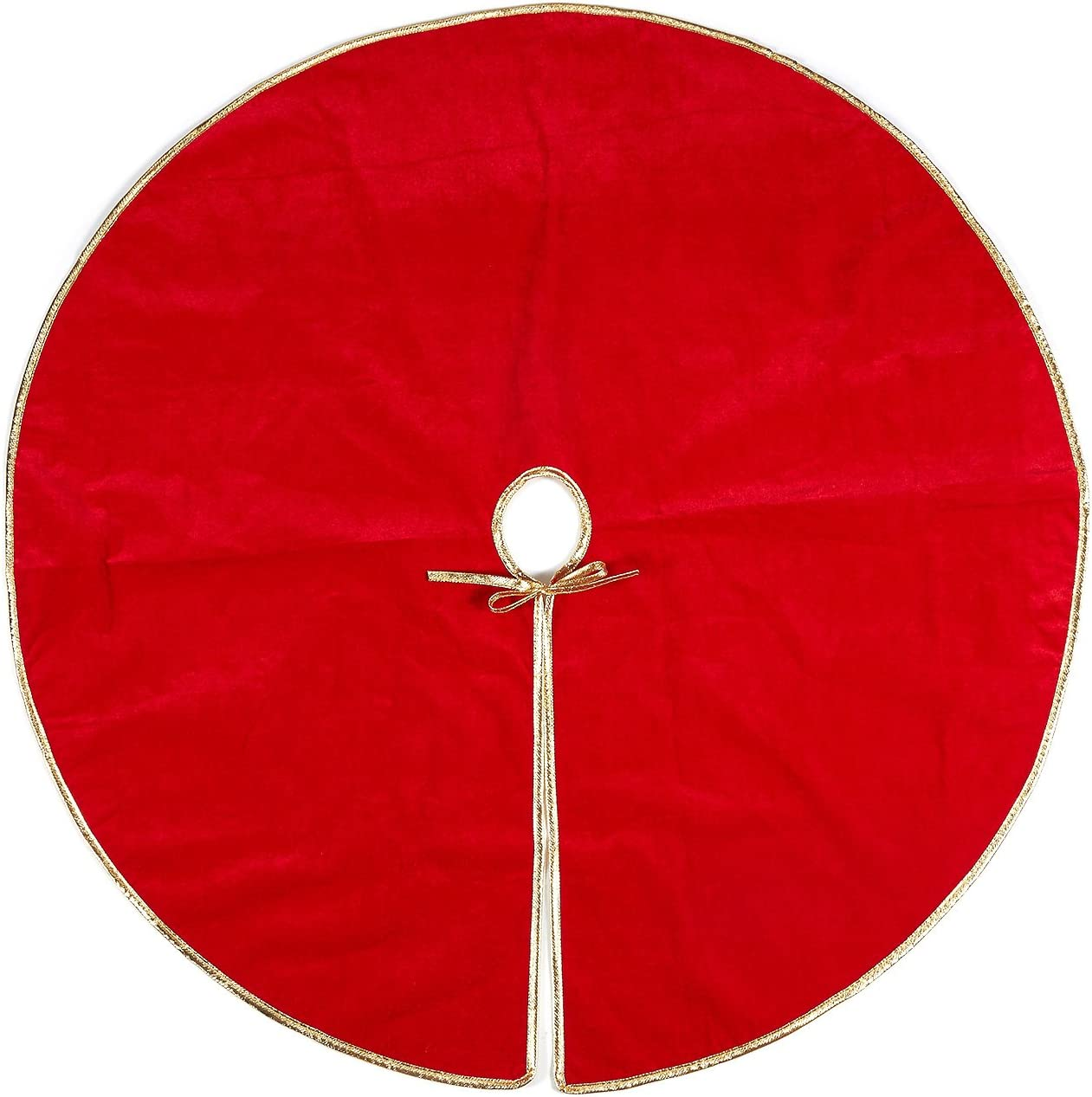 Juvale Red Christmas Tree Skirt, Round Fabric Tree Skirt, Holiday Decor (42 in)