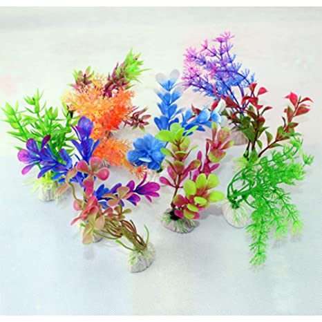 Suministros para Mascotas Simular Planta acuática Acuario pecera Paisaje Flores Falsas Acuarelas decoración