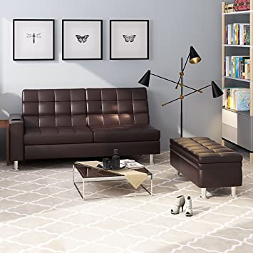 Britoniture Multifunctional Faux Leather Folding Sofa Bed ...
