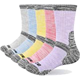 YUEDGE 5Pack Women's Multi Performance Cushion Athletic Outdoor Camping Hiking Crew Socks