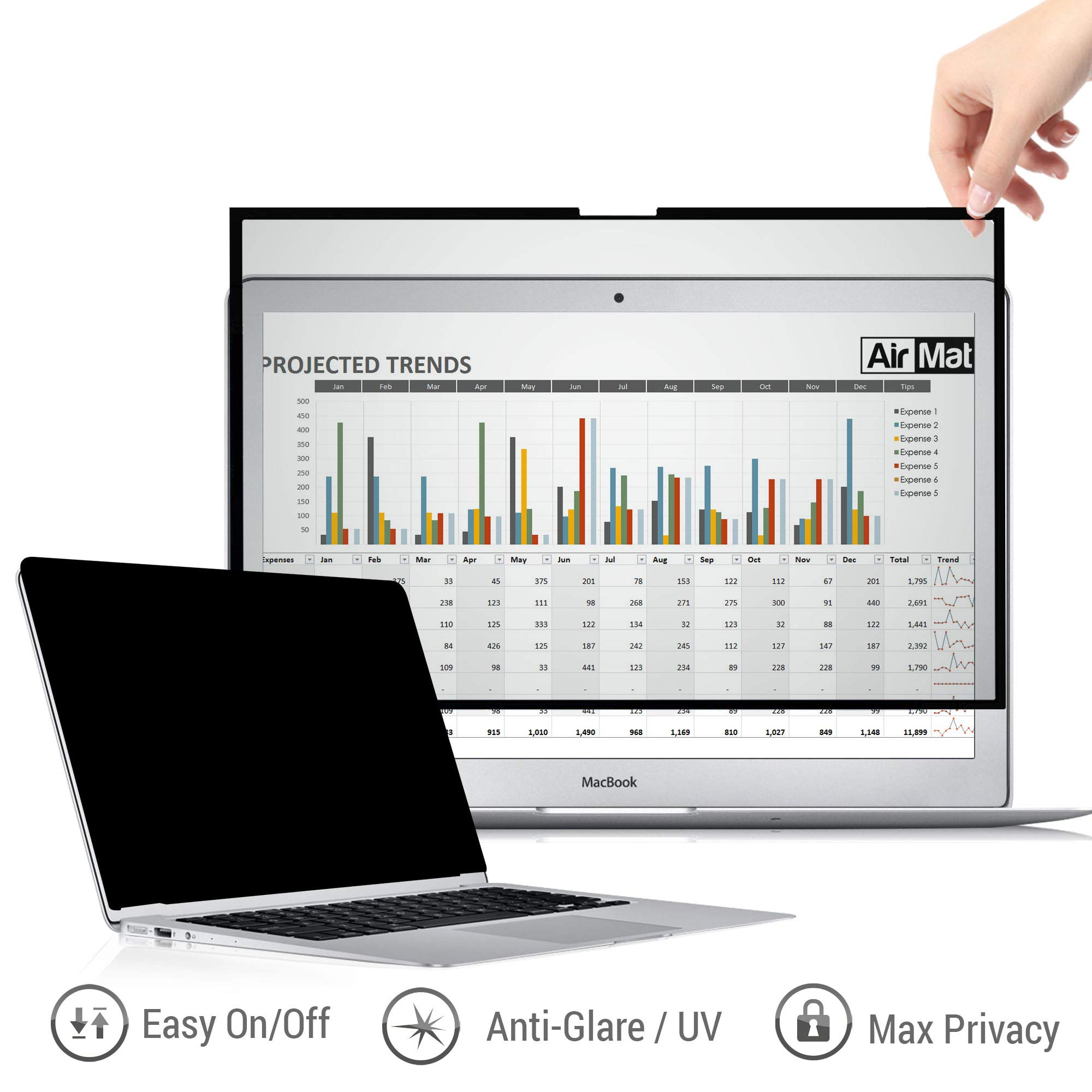 13 inch Removable MacBook Privacy Screen Filter for All 13'' Apple MacBook Models - Air/Pro/Retina/Touchbar - Premium Anti Glare Protector for Data Confidentiality