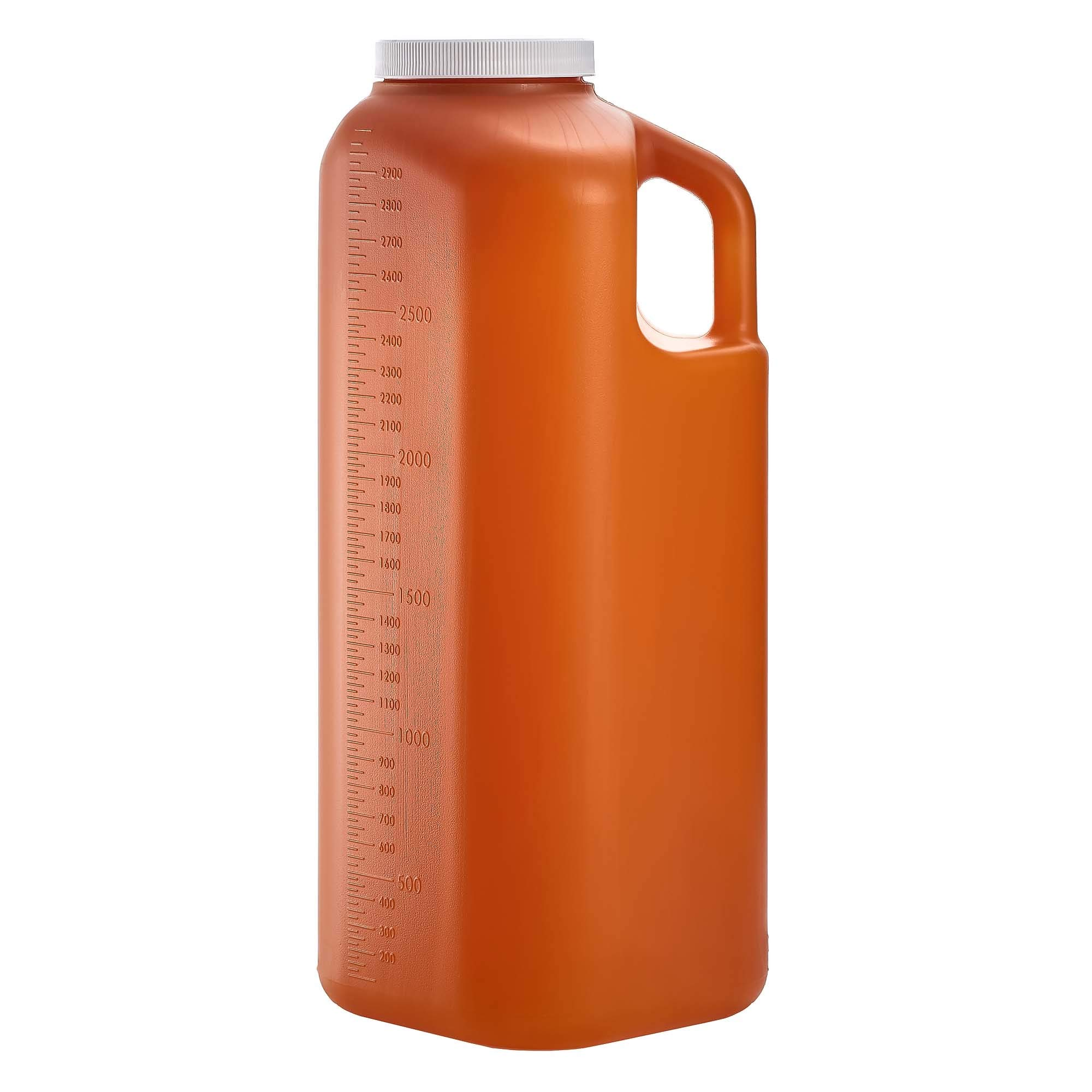 Large Male Urinal with Leak Proof Screw Cap Lid (3000 mL or 101 oz.) (Amber Color)