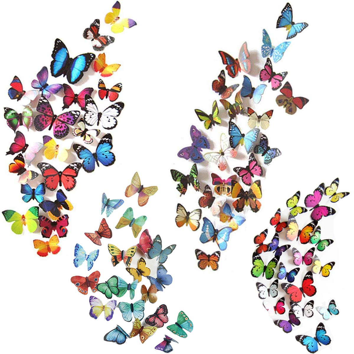 Heansun 123 PCS Butterfly Wall Decals 3D Butterflies Decor Wall Stickers Decal for Wall Removable Mural Stickers Home Nursery Room Decoration