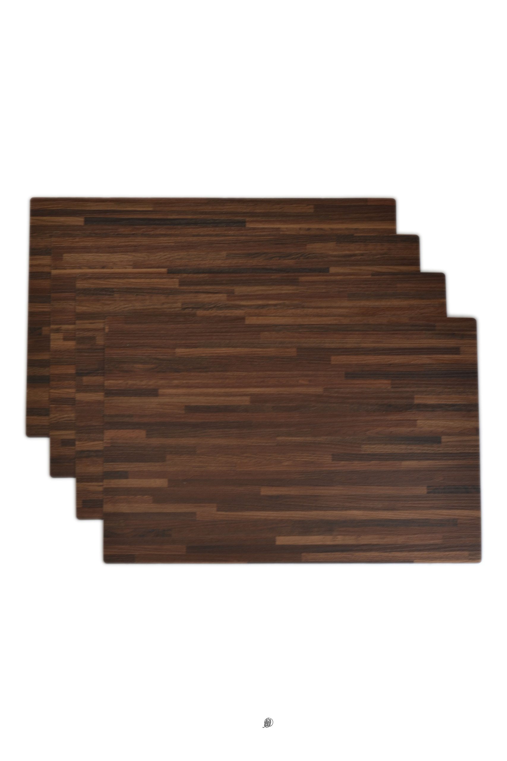 American Chateau Set 4 Reversible 18'' x 12'' Brown/Red Oak Wood Grain Black Table Mat Placemats