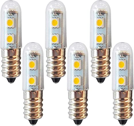 Lxcom E14 Led Bulb Microwave Refrigerator Light Bulb 1w 7 Mini Led Freezer Appliance Bulb 15w Incandescent Equivalent 110v Warm White 3000k For Fridge Oven Range Hood Sewing Machine Lamp 6 Pack