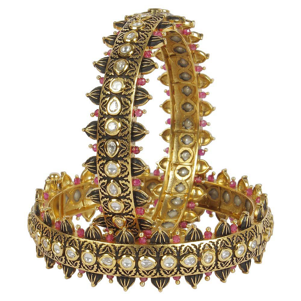 MUCHMORE Fantastic Style Kundan & Ruby Gold Tone Diamond Swarovski Elements Indian Bangles Traditional Jewelry (2.6) by Muchmore