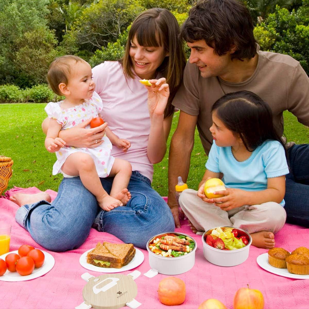 Thousanday Bento Lunch Box Portapranzo Legno per Adulti e Bambini Contenitore Porta Pranzo con 2 Scomparti e Posate per Microonde e Lavastoviglie