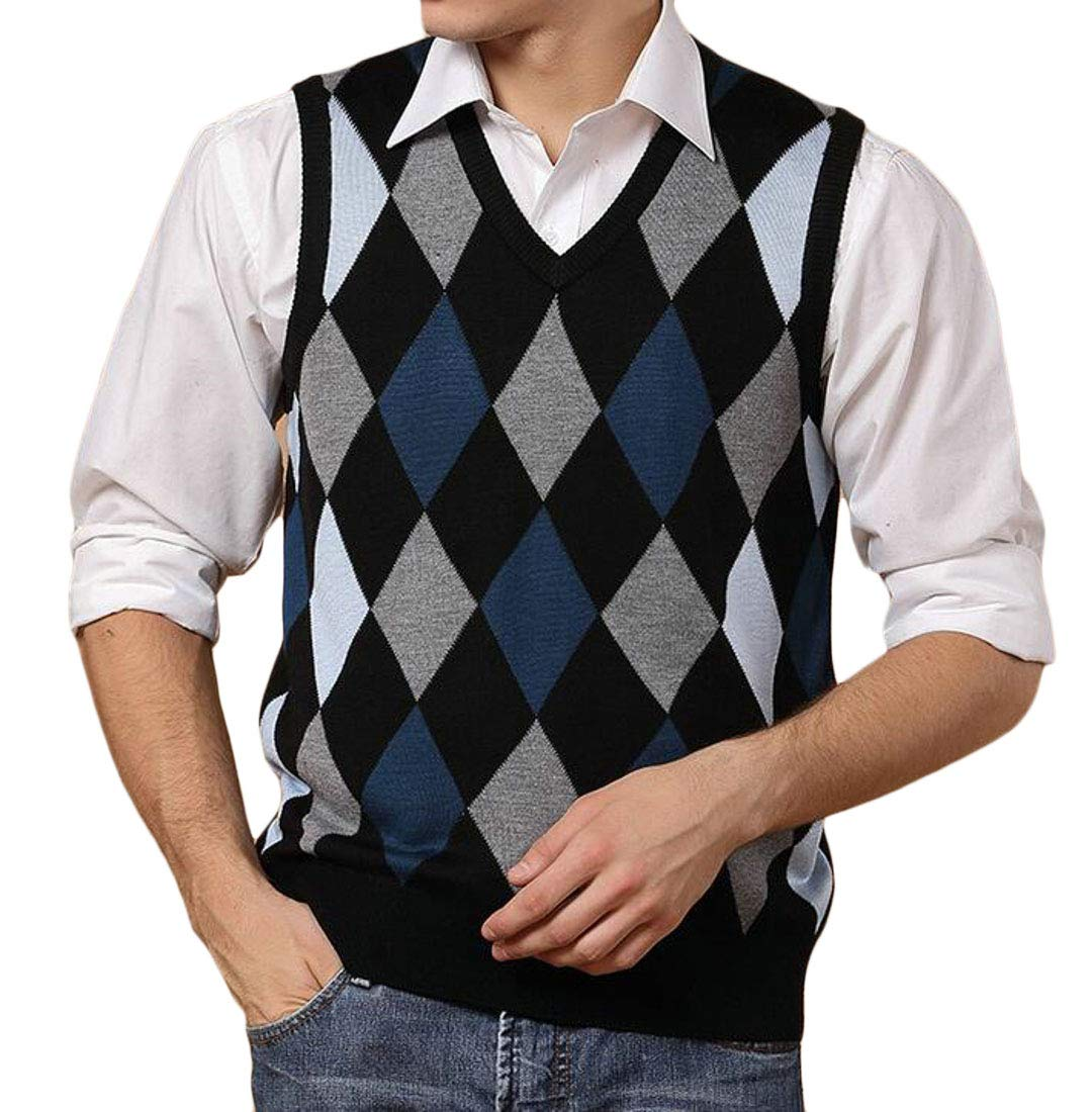 Domple Men's V-Neck Knitted Wool Pullover Plaid Knitted Sweater Vest Blue US L