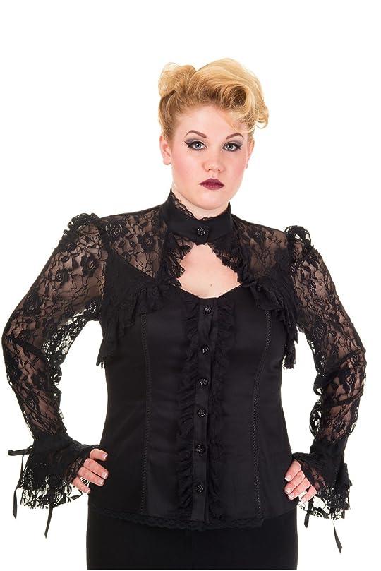 Banned Plus Black Lace Steampunk Victorian Alchemy Gothic Corset Blouse Top