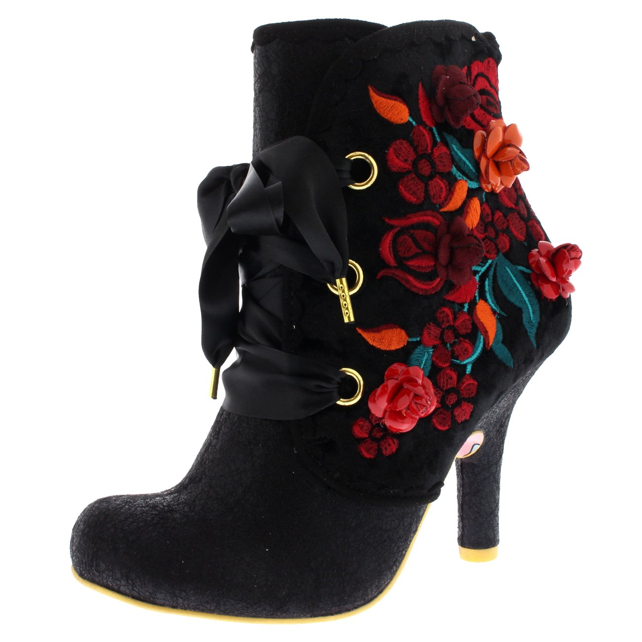 Irregular Choice Womens Autumn Harvest Floral High Heels Ankle Boot - Black - 9